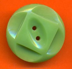 Vintage Lot of 2 Art Deco Rich Light Kelly Green Extra Fancy 28mm Buttons N6L