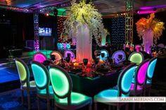 Sarah Merians Photography captures neon light up chairs at a Bat Mitzvah celebration.