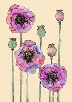 #illustration #flowers #pink #purple #yellow #green