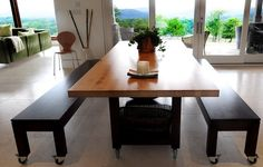 Butcher block dining table with bench