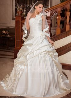 Ball-Gown One-Shoulder Court Train Satin Wedding Dress With Ruffle Flower(s) (002000654) - JJsHouse
