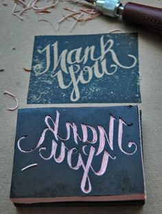 Hand Carved Rubber Stamp(via Compulsive Craftiness)
