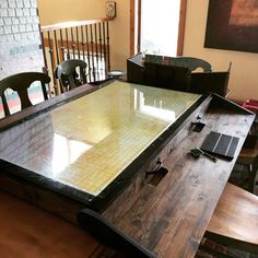 [OC] Check out this sweet setup! : DnD [OC] Check out this sweet setup! Game Room Tables, Board Game Table, Board Games, Tabletop Rpg, Tabletop Games, Virtual Tabletop, Gaming Table Diy, Dnd Table, Dragon Table