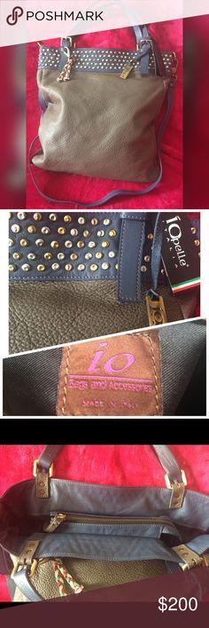 ❤️New iO pelle Italia bag❤️Leather❤️ 💋Cute Studded zip bag,made in Italy.❤leather️💋 IO pelle Bags