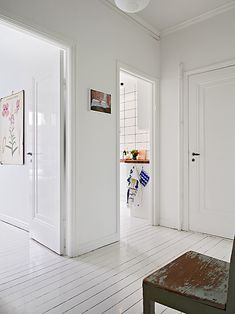White floorboards in landing Painted Floorboards, White Floorboards, Painted Floors, Wood Floor Design, Sweet Home, White Space, Wooden Flooring, Inspired Homes, White Walls