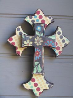 Decorated Wooden Layered Wall Cross by GoodMorningBigFluffy, $32.00