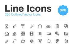 260 Vector Line Icons by Medialoot on Creative Market