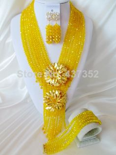 2014 New Yellow Crystal Beads Nigerian Wedding African Crystal Beads Jewelry Set Free Shipping CPS3872 $58.53