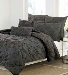 DKNY Diamond Tuck Quilt Collection in Charcoal.