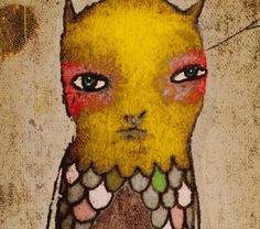 Goldie  gelbe Leitung schrulligen Vogel Abbildung von sMacshop, $16.00