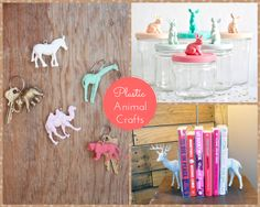 Lots of plastic animal dollar store craft ideas!  Just in time for spring and Easter! Add some color to your home or a playful look!