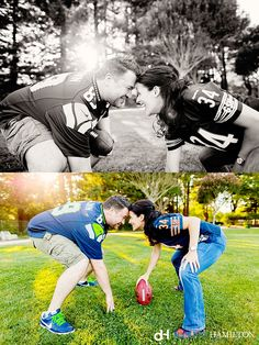 Engagement, football, Crystal & Dan, Damion Hamilton, Yountville, Seahawks, Bears