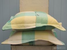 Green/Yellow Button Cushion