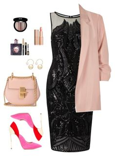 """""""#Pretty in pink"""""""" by chase-stars ❤ liked on Polyvore featuring Adrianna Papell, Chloé, Casadei, Edward Bess, Yves Saint Laurent, River Island and Witchery"""