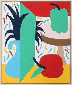 Composition With Apple, Paprika and Plant 01, 02 & 03 (2011) gouache on canvas with wooden frame, 60cm × 50cm