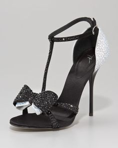 Bejeweled Two-Tone Bow-Toe Sandal by Giuseppe Zanotti at Neiman Marcus.