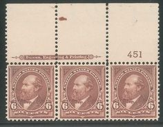 US Scott #271 Garfield Plate Number Strip of Three MNH OG