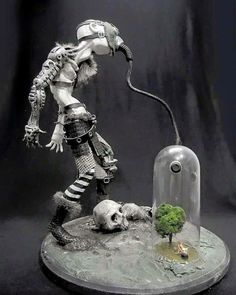 A Sculpture of a Posthuman breathing from the last Tree on Earth..  When the last tree is cut, the last fish is caught, and the last river is polluted.. when to breathe the air is sickening, you will realize, too late, that wealth is not in bank accounts and that you can't eat money.