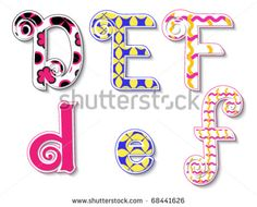 Colorful 3d Swirl Def Letters With Custom Patterns (Swatches ...