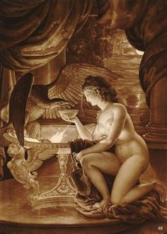 Hebe holding a cup of nectar for Jupiter in the form of an Eagle. 1795-96. Ignaz Unterberger. Italian 1742-1797. mezzotint. http://hadrian6.tumblr.com