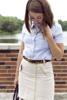 Outfit: Working Girl  #Striped #Shirts & Blouses #Skirts