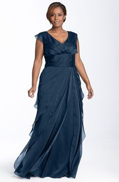 Plus size evening dresses - Adrianna Papell Iridescent Chiffon Petal Gown Plus Size evening dresses - Navy
