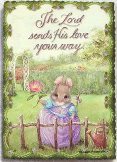 Susan Wheeler Holly Pond Hill Mouse Flower The Lord Sends His Love Wood Magnet | eBay