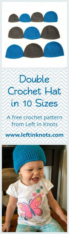Use this FREE crochet pattern to make a hat in any size from newborn to adult! This beginner friendly pattern is perfect for learning how to crochet and even includes a video tutorial to help get your project started. Use this pattern for donations or customize it with your own creative designs!