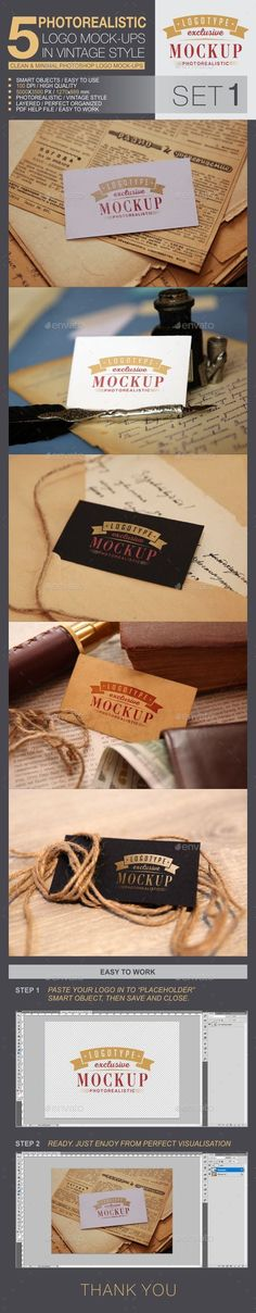 Buy 5 Logo Mock-Ups In Vintage Style by bywahtung on GraphicRiver. Realistic logo mock-ups set on vintage background. Vintage style surround set of objects creates interesting realism . Box Mockup, Mockup Templates, Print Templates, 5 Logo, Vintage Style, Vintage Fashion, Graphic Design Templates, Background Vintage, Photomontage