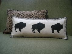 Canvas Buffalo Accent Pillow / FREE SHIPPING/ Now Available. $44.00, via Etsy.