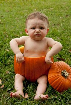 Baby in pumpkin