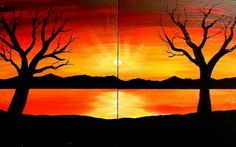 thinking about making this into three canvas instead of two, and change the colors in the sunset in each canvas. Mountain Landscape Drawing, Sunset Landscape, Landscape Drawings, Sunset Drawing Easy, Three Canvas Painting, Beautiful Landscape Paintings, Easy Paintings, Canvas Paintings, Easy Drawings