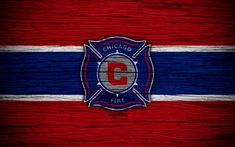 Chicago Fire, 4k, MLS, wooden texture, Eastern Conference, football club, USA, Chicago Fire FC, soccer, logo, FC Chicago Fire