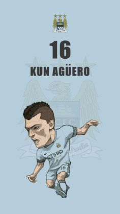 "Manchester City fan art for mobile wallpaper ""Sergio Aguero"""