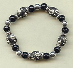 Jewelry Making Idea: Black and Silver Stretchy Bracelet (eebeads.com)