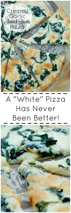 Creamy Garlic Spinach Ricotta Pizza - The Taylor House - make it on a L C crust or flat bread! Pizza Recipes, Vegetarian Recipes, Dinner Recipes, Cooking Recipes, Healthy Recipes, Garlic Spinach, Spinach Ricotta, Garlic Pizza, Spinach Pizza