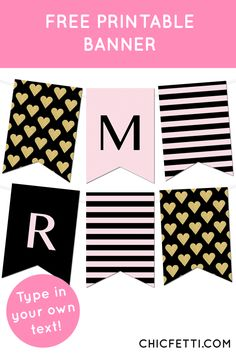 Free Printable Banner from @chicfettiwed - type in your own letters Striped Gold Heart Banner