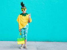 This adorable no-sew pineapple costume is quick and easy to make. Whip it up in under an hour and your little ones are ready to Diy Fruit Costume, Fruit Costumes, Halloween Costumes, Pineapple Costume, Dhokla Recipe, Diy Wedding Projects, Classroom Inspiration, Diy For Kids, Party Planning