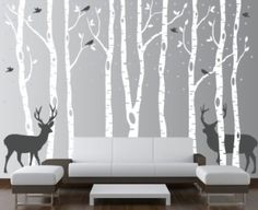 Trees-brown  Snow- White  Deer- dark grey  Birds- yellow