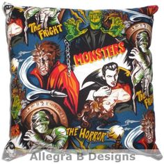 Rockabilly Horror Monster Throw Pillow Psychobilly by AllegraB, $15.00