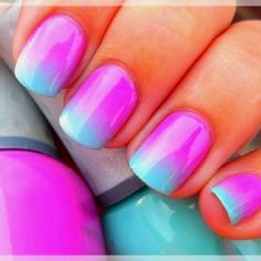 neon ombre if u want this done, u need to get:  *white make up sponges *bowl of water *three different nail polishes *Sally Hansen white nail polish