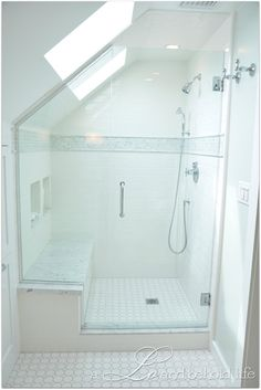 Frameless Dormer Shower with skylights via a LO and behold life