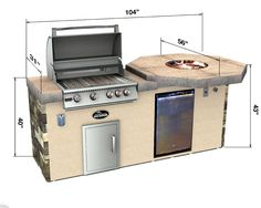 Select Series Homestretch - Outdoor Kitchen Island tile top dimensions