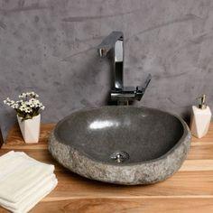 Naturstein Waschbecken 40 cm Waschschale Stein poliert