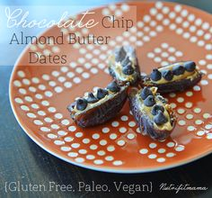 Gluten Free, Paleo, Vegan Dates stuffed with Almond Butter and topped with dark chocolate chips by NutriFitMama {The perfect make ahead, clean eating snack to grab on the go when you're craving a candy bar!} www.nutrifitmama.com