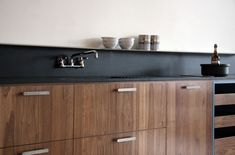 A backsplash made from Paperstone, a recycled paper counter material, by Viola kitchen. Remodelista