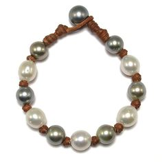 Fine Pearls and Leather Jewelry by Designer Wendy Mignot All Around Tahitian Mixed Bracelet