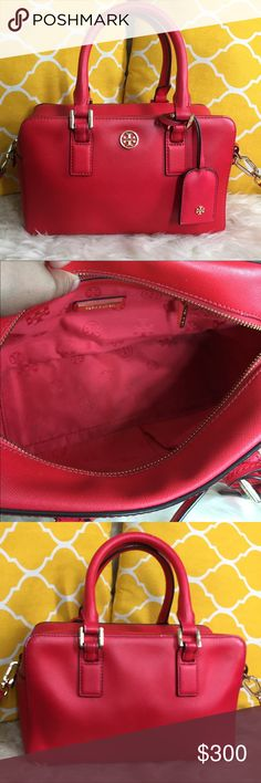 "🌸FLASH⬇️🌸Tory Burch Candy Red Small Satchel 🌷Authentic🌷Great condition. Minimal sign of use inside and some small marks outside otherwise still super cute and fully functional. Features top handle, removable/adjustable strap, zip top to close, 3 pockets inside and metal feet for protection. Great as a go to purse. Very nice candy red color. Carry it by hand/arm, shoulder or crossbody. Comes with dustbag. Don't be shy to make an offer💕 Dimensions: L10"" H6"" Bottom Width4"" Handle…"