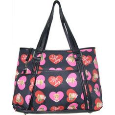 I Love Lucy shoulder tote with heart print and small front pocket.Includes a trendy attachable change purse with matching print.Drop Length: 9.5 .I Love Lucy and related marks are trademarks of CBS Broadcasting Inc. © 2006 CBS Broadcasting Inc. All rights reserved. Images of Lucille Ball & Desi