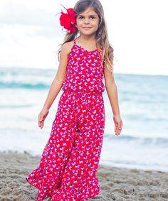 2afa096629 Mia Belle Baby Red   Blue Dot Ruffle-Hem Jumpsuit - Girls